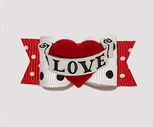 "#3089 - 5/8"" Dog Bow - Valentine Sweetheart Dots, Love Banner"