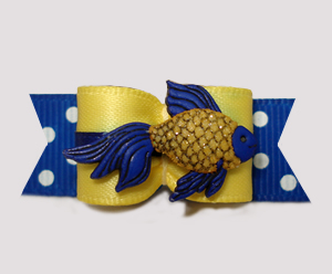 "#3095 - 5/8"" Dog Bow - Sparkly Fish, Nautical Blue/Yellow"