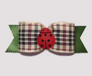"#3096 - 5/8"" Dog Bow - Chic Little Ladybug, Designer Plaid/Olive"