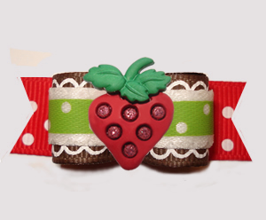 "#3102 - 5/8"" Dog Bow - Sweet As Strawberries, Red/Green"