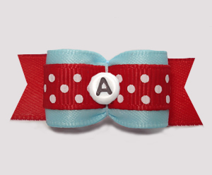 "#3104 - 5/8"" Dog Bow - Lovely Blue/Red w/Dots, Choose Letter"