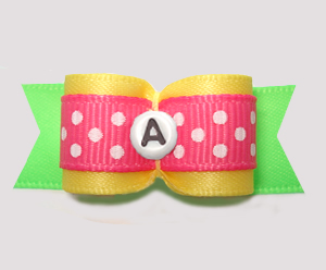 "#3106 - 5/8"" Dog Bow - Yellow/Green/Pink w/Dots, Choose Letter"