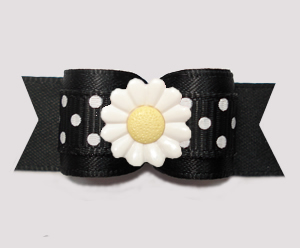 "#3117- 5/8"" Dog Bow - Delightful Daisy Dots, Classic Black/White"