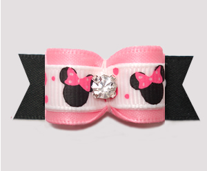 "#3120 - 5/8"" Dog Bow - Cute Baby Minnie Mouse, Soft Pink/Black"