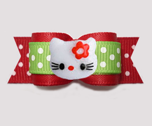 "#3125 - 5/8"" Dog Bow - Hello Little Kitty, Red/Green, Dots"