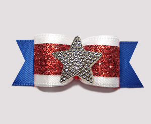 "#3127 - 5/8"" Dog Bow - Patriotic Star, Red Glitter/White/Blue"