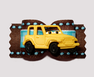 "#A6888 - 7/8"" Dog Bow - Yellow/Brown; Beep Beep, It's A Jeep"