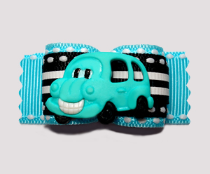 "#A6889 - 7/8"" Dog Bow- Blue/Black with Sporty Stripes, Happy Bus"