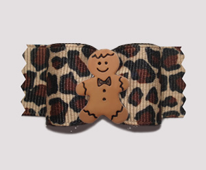 "#A6892 - 7/8"" Dog Bow - Unique & Sweet! Leopard/Gingerbread"
