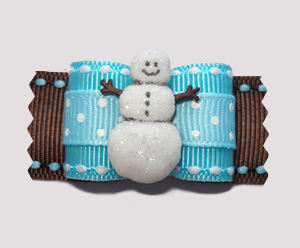"#A6893 - 7/8"" Dog Bow - Let It Snow! Cute Snowman"