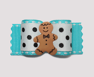"#A6896- 7/8"" Dog Bow- Classic Dot, Sweet Little Gingerbread Boy"