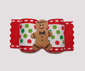"#A6898 - 7/8"" Dog Bow - Candy Cane Dots, Sweet Gingerbread"