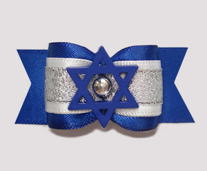 "#A6902 - 7/8"" Dog Bow - Hanukkah, Blue Star of David"