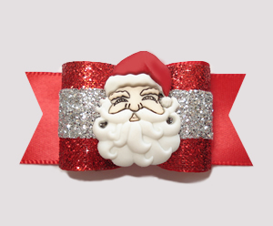 "#A6904 - 7/8"" Dog Bow - Holiday Glitter, Red/Silver- Jolly Santa"