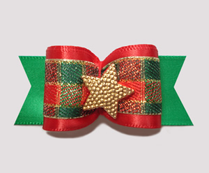 "#A6908 - 7/8"" Dog Bow - Classic Holiday Plaid, Gold Star"