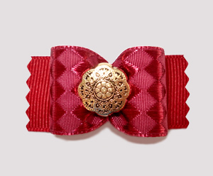 "#A6909 - 7/8"" Dog Bow - Elegant, Rich Cranberry; Victorian Gold"