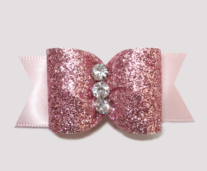 "#A6914 - 7/8"" Dog Bow - Gorgeous Pink Glitter, Triple Stone"