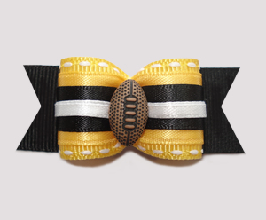 "#A6915 - 7/8"" Dog Bow - Football, Yellow/Black"