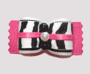 "#A6918 - 7/8"" Dog Bow - Zebra Girl, Hot Pink"