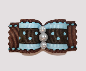 "#A6922 - 7/8"" Dog Bow - Chocolate Brown with Blueberry Dots"