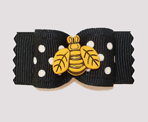 "#A6925 - 7/8"" Dog Bow - Busy Buzzy Bee, Black/White"