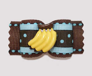 "#A6928 - 7/8"" Dog Bow - Chocolate & Blueberry Banana-rama"