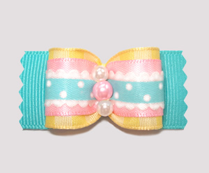 "#A6930 - 7/8"" Dog Bow - Country Cottage Ruffle, Pastels"