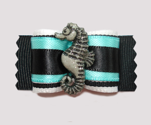 "#A6931 - 7/8"" Dog Bow - Unique Seahorse, Sea Green/Black"