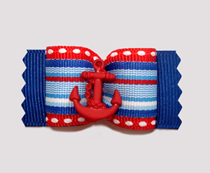 "#A6933 - 7/8"" Dog Bow - Sailor Stripes, Red/Blue, Anchor"