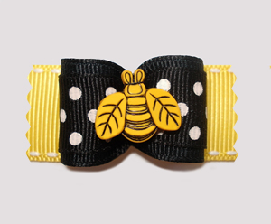 "#A6936 - 7/8"" Dog Bow - Busy Buzzy Bee, Black/White on Yelllow"
