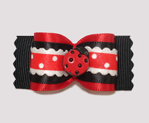 "#A6940 - 7/8"" Dog Bow - Adorable Miss Ladybug"