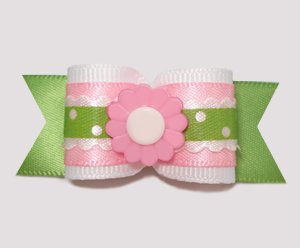 "#A6941 - 7/8"" Dog Bow - Country Cottage Ruffle, Pink Flower"