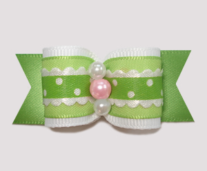 "#A6942 - 7/8"" Dog Bow - Country Cottage Ruffle, Green"