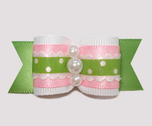 "#A6943 - 7/8"" Dog Bow - Country Cottage Ruffle, Pink/Green"