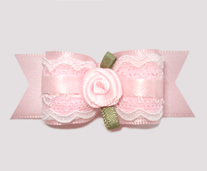 "#A6945 - 7/8"" Dog Bow - Sweet 'n Angelic, Baby Pink w/Lace, Rose"