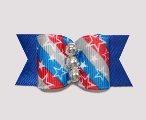 "#A6947 - 7/8"" Dog Bow - Patriotic Stars 'n Stripes Forever, Blue"