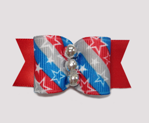 "#A6948 - 7/8"" Dog Bow - Patriotic Stars 'n Stripes Forever, Red"