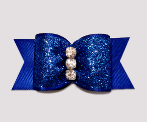"#A6949 - 7/8"" Dog Bow - Stunning Rich Blue Glitter, Triple Stone"