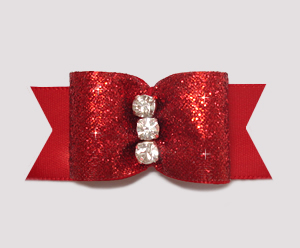 "#A6950 - 7/8"" Dog Bow - Showy Classic Red Glitter, Triple Stone"