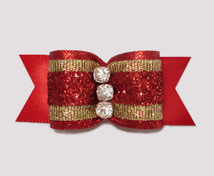 "#A6951 - 7/8"" Dog Bow - Showy Classic Red Glitter with Gold"