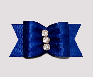 "#A6954 - 7/8"" Dog Bow - Gorgeous Regal Blue Satin, Rhinestones"