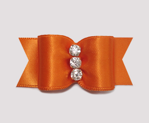 "#A6956 - 7/8"" Dog Bow - Gorgeous Vibrant Orange, Rhinestones"