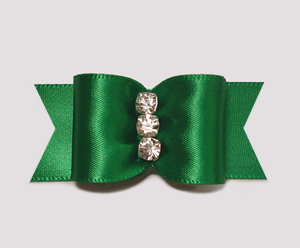 "#A6957 - 7/8"" Dog Bow - Gorgeous Deep Green, Rhinestones"