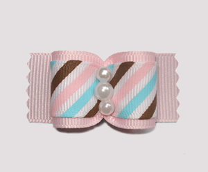 "#A6959 - 7/8"" Dog Bow - Candy Floss Stripe on Pink, Faux Pearls"