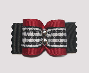 "#A6960 - 7/8"" Dog Bow - Classic Red with Black/White Gingham"