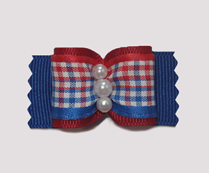 "#A6961 - 7/8"" Dog Bow - Patriotic Red, White & Blue"