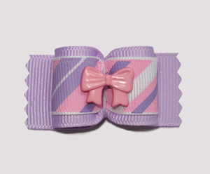 "#A6969 - 7/8"" Dog Bow - Candy Floss Stripes, Purple/Pink Ribbon"