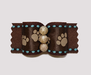 "#A6983 - 7/8"" Dog Bow - Sweet Little Paws, Brown w/Gold Stardust"
