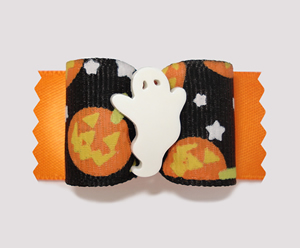 "#A7004 - 7/8"" Dog Bow - Halloween Boo, Ghostly Pumpkins"