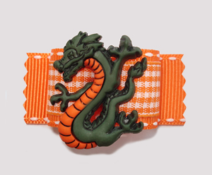 "#A7005 - 7/8"" Dog Bow - Original, Exotic Dragon, Vibrant Orange"
